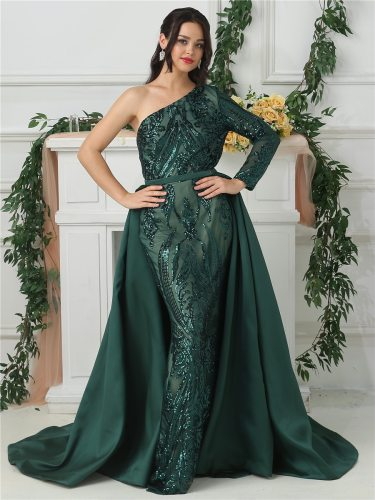 Women's Embroidery Full One Shoulder Mermaid Dress Mid Waist Sequins Maxi