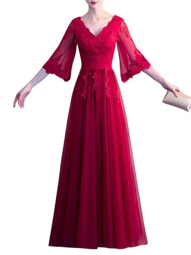 Women's Evening Dress Mid Waisted Breathable Elegant Maxi Long Dress Wedding