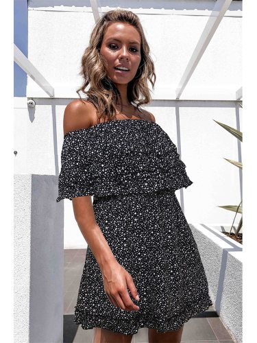 Women's Off Shoulder Ruffles Mid Waist Backless Midi Street Style A Line Dress Half Ruffled Floral Print