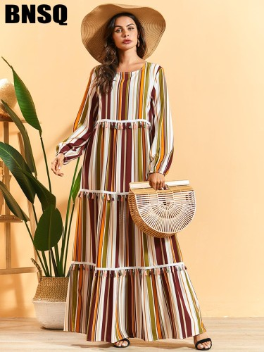 BNSQ Women's Loose Maxi Celebrity&Elegant High Waist Patchwork Long Sleeve Striped A Line Dress Crew Neck