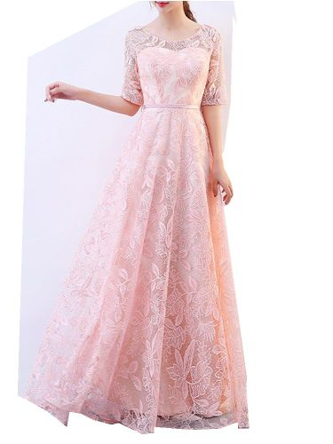 Women's Full Dress Solid Color Zipper Lace Princess Dress The Belt Is Included Low Waist Crew Neck Maxi Half Sleeve