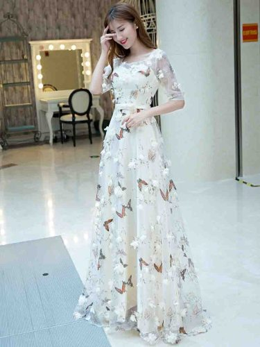 Women's Evening Dress Flower s Sweet Bridesmaid Bubble Skirt Half Maxi High Waist Applique Slash Neck Regular