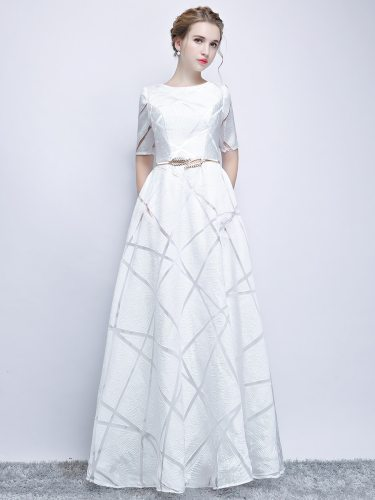 Women's Full Dress Geometry Pattern Elegant Simple Long Wedding Zipper Ball Gown Half Maxi Slim Mid Waist Slash Neck