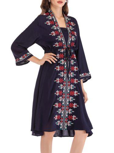 Women's Dress Fashion Patchwork Sleeve V Neck Embroidery High Waist Midi Three Quarters Slim Aline Colorblock