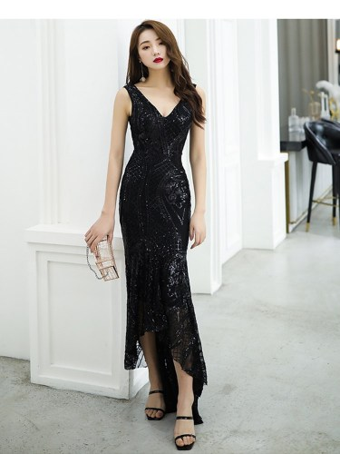 Women's Full Dress Solid Color Wedding Slim Sequins Sleeveless Low Waist Maxi Skinny Dress V Neck