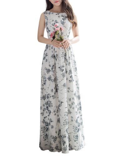 Women's Evening Dress Elegant Floral Maxi Long Sleeveless Aline