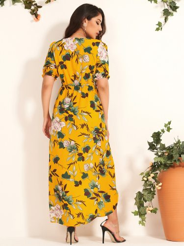 Women's A Line Dress Floral Print V Neck High Waist Plant Tunic Dress Slim Split Short Sleeve Glamorous Maxi
