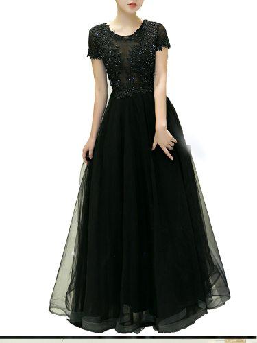 Women's Evening Dress Solid Black Embroidery Rhinestone Decor Cocktail Slim Short Sleeve Aline