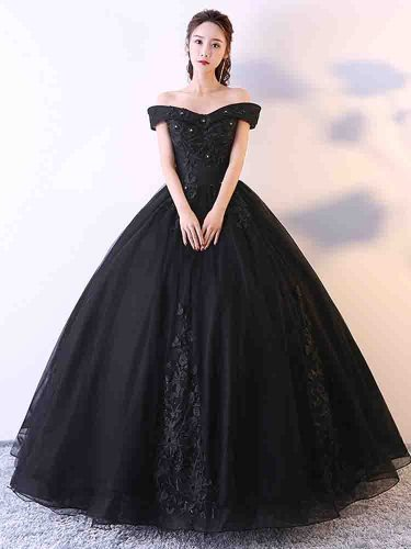 [Customer Made] Women's Evening Dress Lace Annual Party Maxi Beading Slash Neck Bubble Skirt Short Sleeve Slim Coming of Age Ceremony Mid Waist