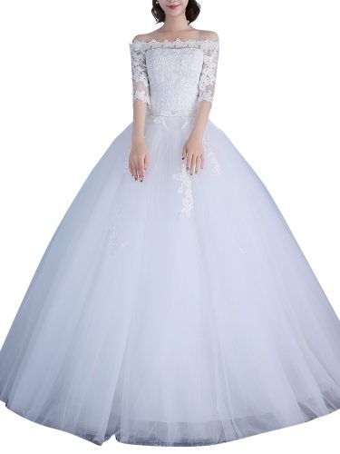 Women's Wedding Dress Elegant Off Shoulder Ball Gown Simple Maxi Slash Neck Half Sleeve Official Dinner Lace Princess Dress