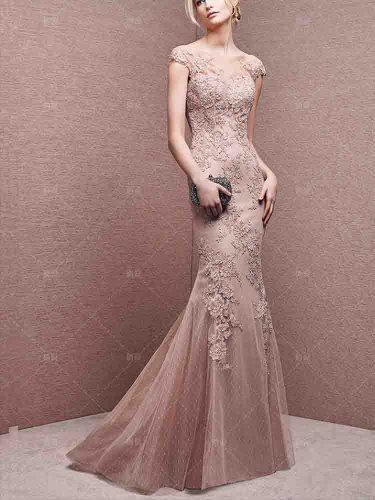 [Customer Made] Women's Full Dress Fashion Backless Lace Mermaid Slim Mid Waist V Neck Maxi Sleeveless Contrast Color