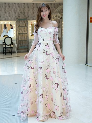 Women's Full Dress Sleeve Butterfly Pattern Sweet Bridesmaid A Line Dress Mid Waist Slim Half Slash Neck Bandeau Maxi