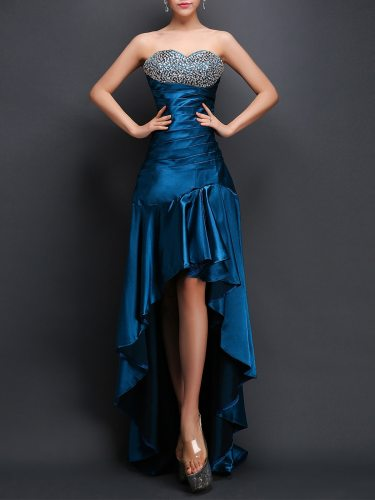 Women's Evening Dress Front Short Long Back Prom Gown Party Strapless Aline