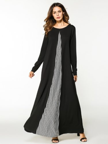 Women's Kaftan Dress Patchwork Pattern Kaftan Striped Maxi Casual Long Sleeve A Line Dress High Waist Slim