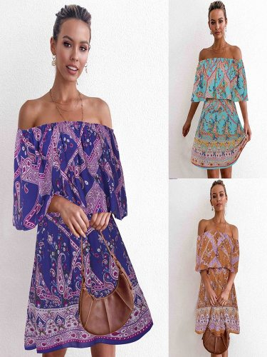 Women's Casual A Line Dress Midi Floral Print Loose Mid Waist Celebrity&Elegant Off Shoulder