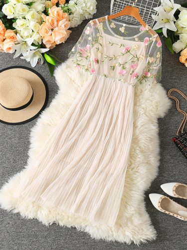 Women's Embroidery Patchwork Slim A Line Dress Midi Simple Lace Short Sleeve Mid Waist Crew Neck Solid Color