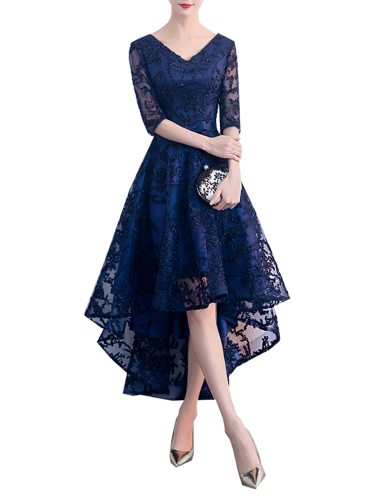 Women's Full Dress V Neck Lace Solid Color Elegance Design