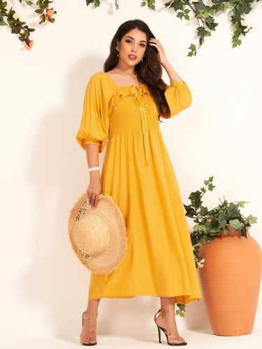 Women's A Line Dress Fashion Sleeve Maxi Square Collar Traditional High Waist Half Tunic Dress Solid Color