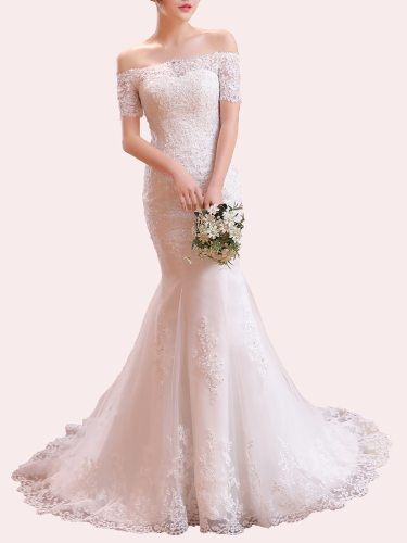 Women's Wedding Dress Lace Sequined Off Shoulder Court Train Elegant Evening Short Sleeve Trumpet/Mermaid