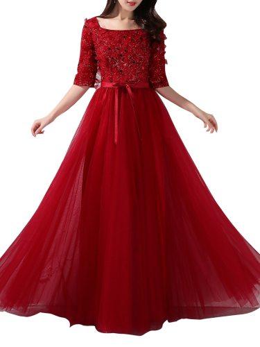 Women's Evening Dressing Solid Color Sequined Decor A-line Floor-Length Elegant Aline Slash Neck Glitter Mid Waist Loose Maxi Half