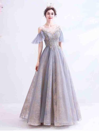 Women's Full Dress High Waist Patchwork Hollow Shoulder Evening Slim Ball Gown Applique Sleeveless Mid Waist Maxi Crew Neck