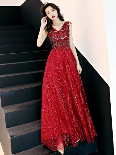 Women's Long Dress Full Zipper V Neck Maxi Mid Waist Sleeveless Slim Princess Dress