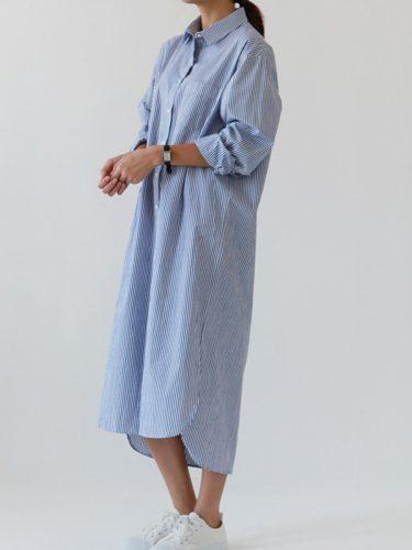 Women's Shirt High Low Long Mid Waist Striped Turn Down Collar Midi Shirt Dress Split Casual Loose Long Sleeve