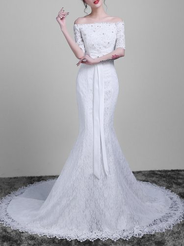 Women's Wedding Dress Lace Sleeve Off Shoulder Bow Fishtail Maxi Long Half Trumpet/Mermaid