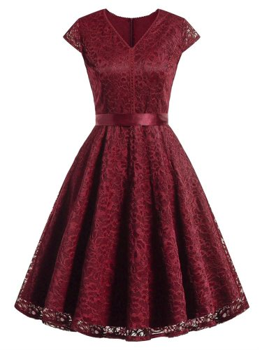 Women's Bow Slim Midi Vintage Short Sleeve Solid Color Lace V Neck Mid Waist A Line Dress
