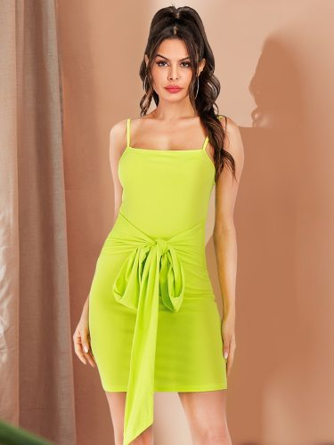 Women's Fashion Backless Strapless Glamorous Mid Waist Slip Dress Sleeveless Solid Color Mini Slim