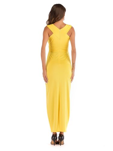 Women's V Neck Sleeveless Slim High Waist Sexy Solid Color Slip Dress Maxi