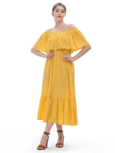 Women's Dress Off Shoulder Sweet Plus Size Ruffles Top Fashion Mid Waist Loose Slash Neck Maxi