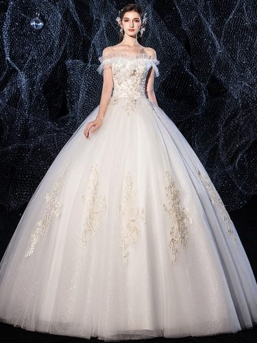 Women's Wedding Dress Fashion Embroidery Off Shoulder Patchwork Long Princess Dress Applique Coming of Age Ceremony Slim Mid Waist Slash Neck Short