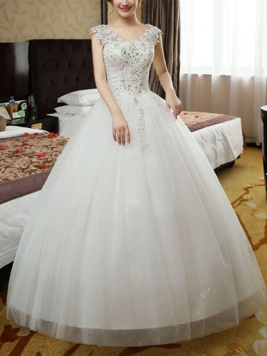 Bridal Wedding Gown Lace Romantic Design Maxi Long Beading Slim Coming of Age Ceremony V Neck Bubble Skirt