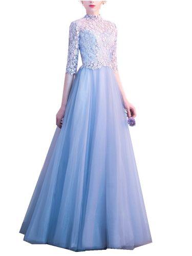 Women's Evening Dress Lace Patched Sleeve Plus Size Elegant Maxi Long Aline Slim Half