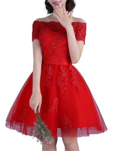 Women's Prom Dress Solid Color Sweet Off Shoulder Short Slash Neck Belt Mid Waist Princess Mini Short Sleeve