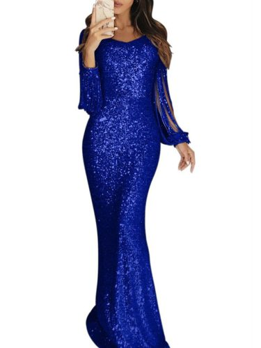Women's Full Dress Fashion Long Sleeve Solid Color Long Slim Maxi Crew Neck Mermaid Dress Mid Waist