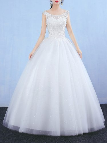 Women's Wedding Dress Floral Lace Sleeveless Backless Ball Gown Maxi Short Sleeve Loose