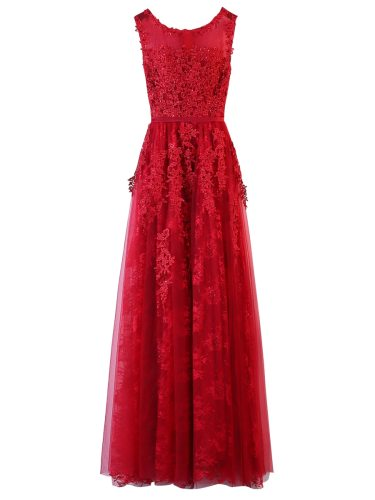 Women's Evening Dress Delicate Pure Color Floral Lace Sequined Maxi A Line Aline Sleeveless Slim
