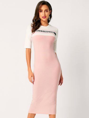 Women's Patchwork Mid Waist Casual Short Sleeve Crew Neck Midi Slim Pencil Dress