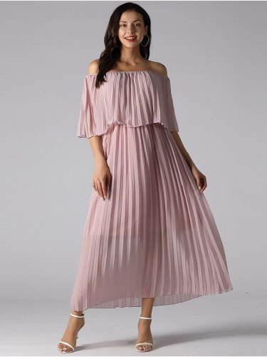 Women's Hollow Shoulder Long Sweet Solid Color Slim A Line Dress Midi High Waist