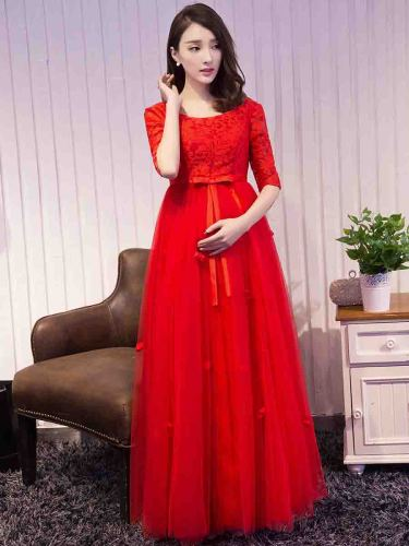 Women's Wedding Dress Crew Neck s Bow Solid Color Bride Wedding Midi Slash Neck A Line Dress Mid Waist Slim Three Quarters Sleeve Applique