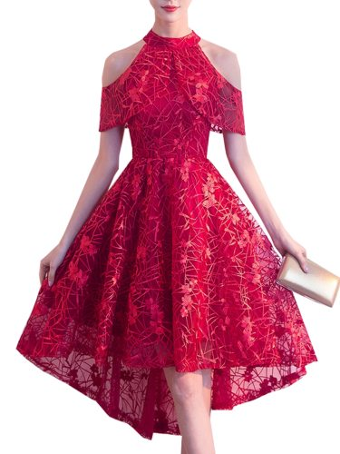 Women's Party Dress Solid Color Lace Hollow Out Full