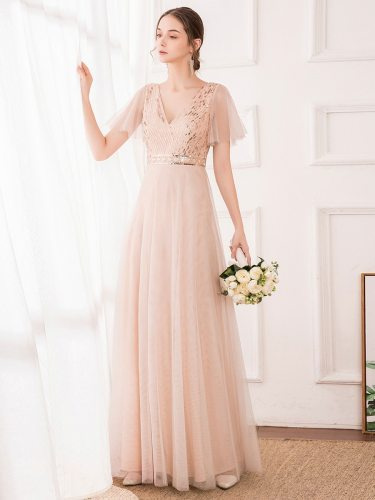 Ever-Pretty Women's Full Dress Sequins Patchwork Long Maxi Short Sleeve High Waist V Neck A Line Dress Tiered