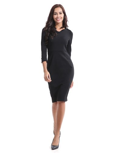 Women's Pencil Dress Slim Solid Color Three Quarters Sleeve Casual Midi Mid Waist