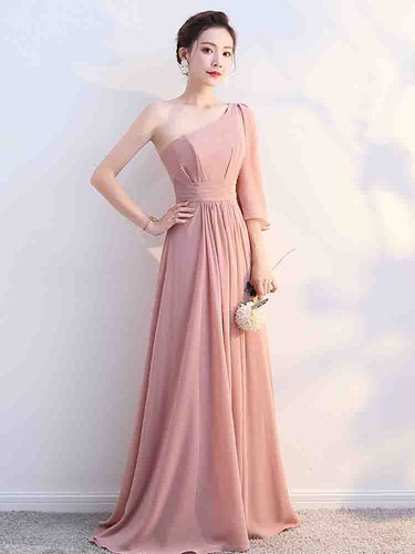 Women's Full Dress Solid Color Bridesmaid Bandeau Mid Waist Half Slim A Line Dress Maxi One Shoulder