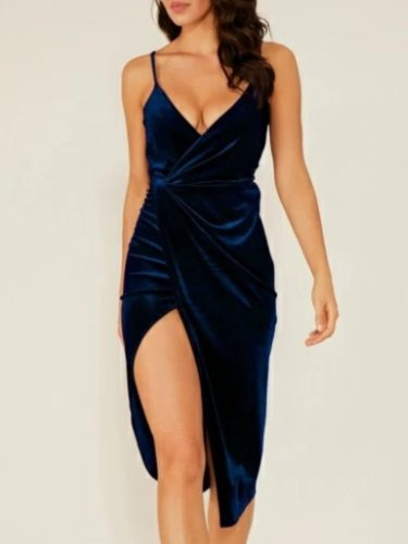 Women's Slip Dress Sleeveless Midi V Neck Sexy Mid Waist Solid Color Slim Split