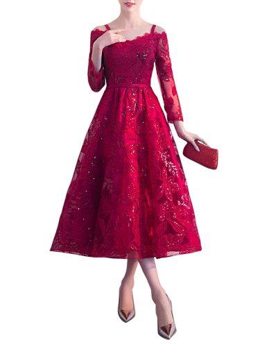 Women's Cocktail Dress Slash Neck Elegant Solid Color A Line Aline Slim Three Quarters