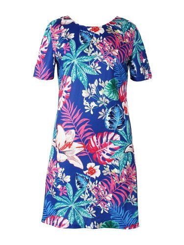 Women's Print Crew Neck A Line Dress High Waist Slim Floral Print Casual Mini