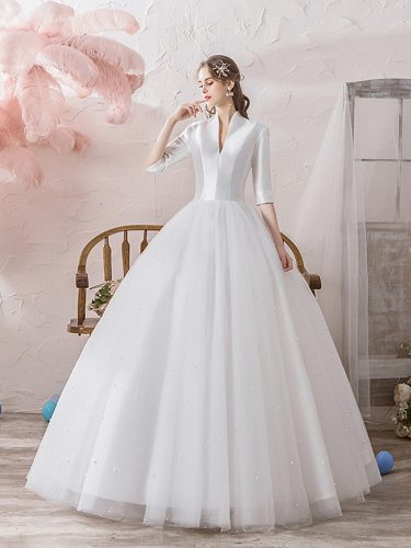 Women's Wedding Dress Fashion A Line Dress Slim Deep V Neck Maxi Beading Mid Waist Half Sleeve